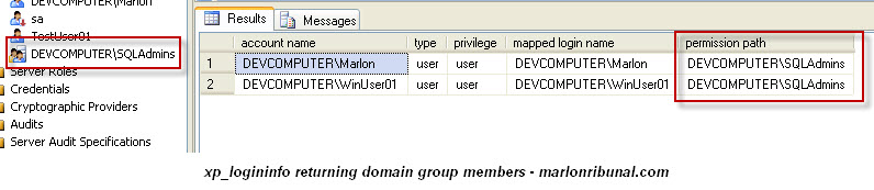 who are the domain members of the Windows Group in my SQL Server