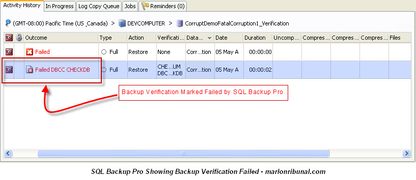 SQL Backup Pro v7 Failed Verification of a SQL Server Backup