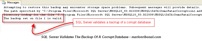 RESTORE VERIFYONLY Only checks the validity of backup file but not the copy of the database within that backup file