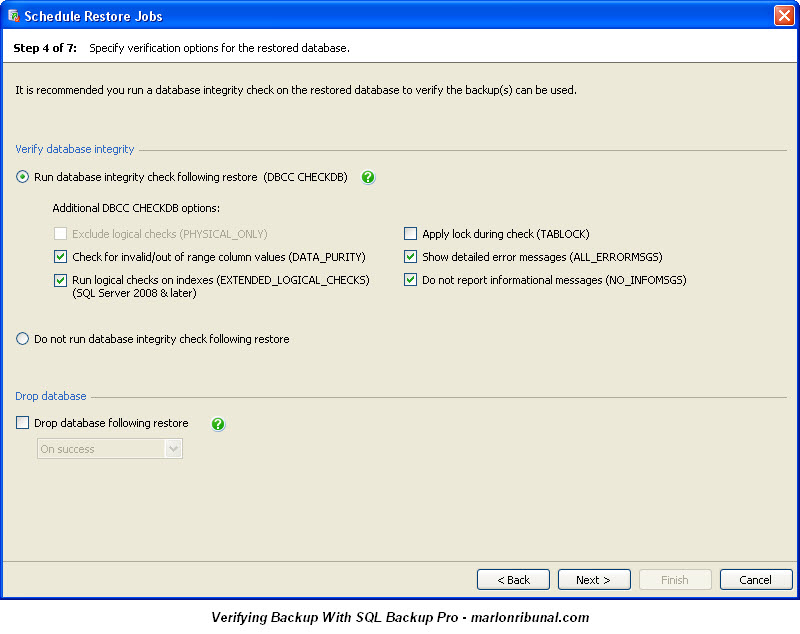 Verifying SQL Server Backup Restore With SQL Backup Pro v7