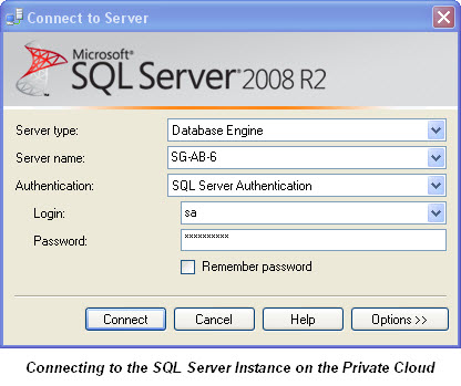 Connecting To The Cloud SQL Server on SQL Director