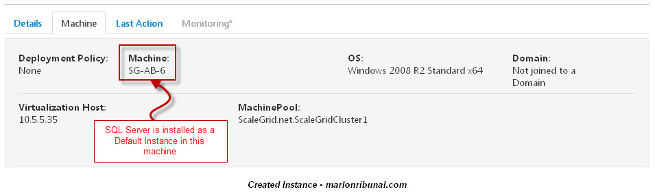 Virtual Machine created by Scale Grid