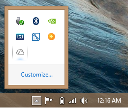 SkyDrive icon in the Windows 8 Taskbar