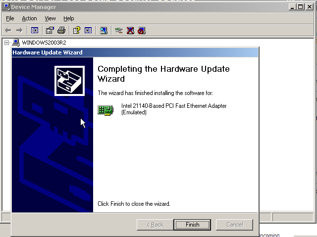 Installing Legacy Network Adapter to Windows Server 2003 x64 VM in Hyper-V