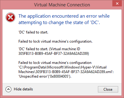 Hyper-V Virtual Machine State Error
