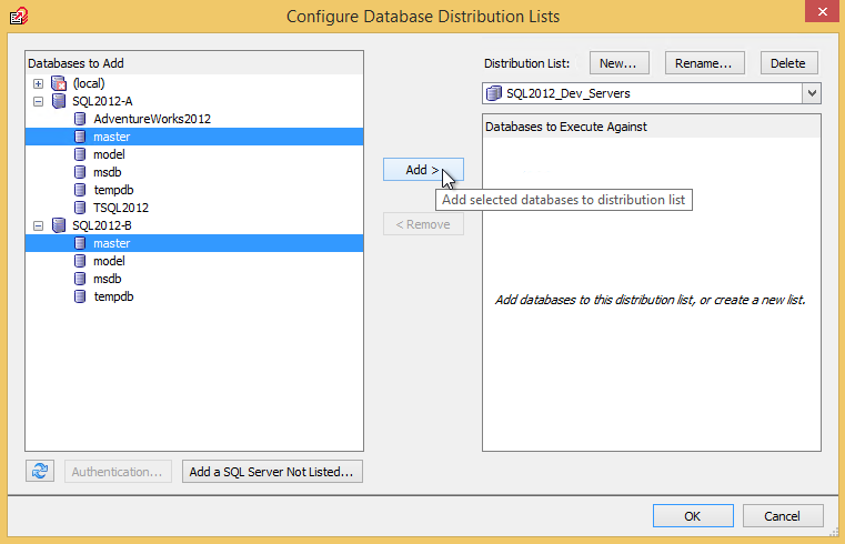 Select database to add to the multi script distribution list