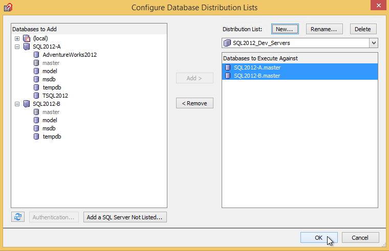 Add database to databases to execute against in SQL Multi Script