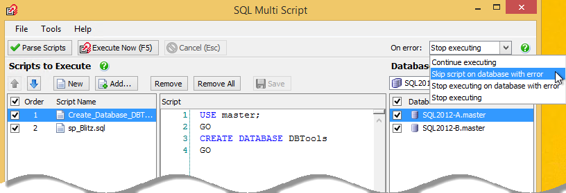 On error action when script has error on SQL Multi script