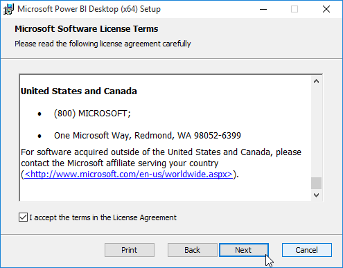 POwer Bi Desktop License Agreement