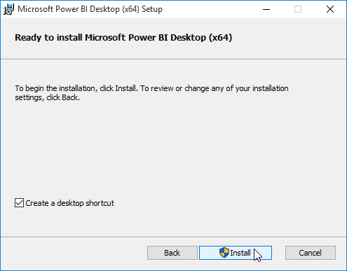 confirm installation of power bi desktop