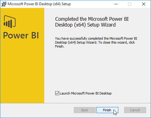 completed power bi desktop installation