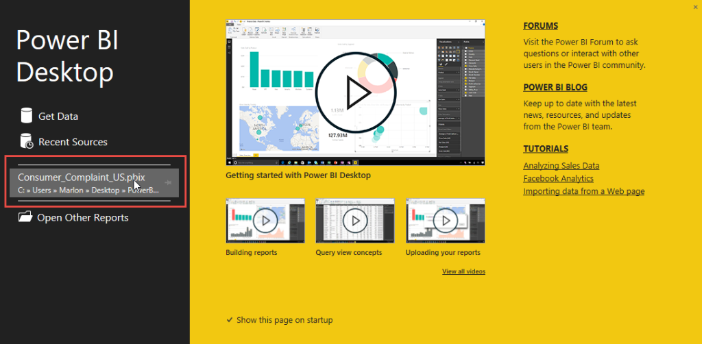 power bi desktop splash screen