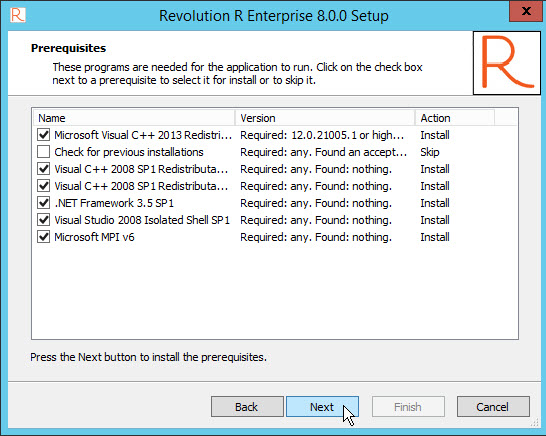 Revolution R Enterprise Prerequisite check