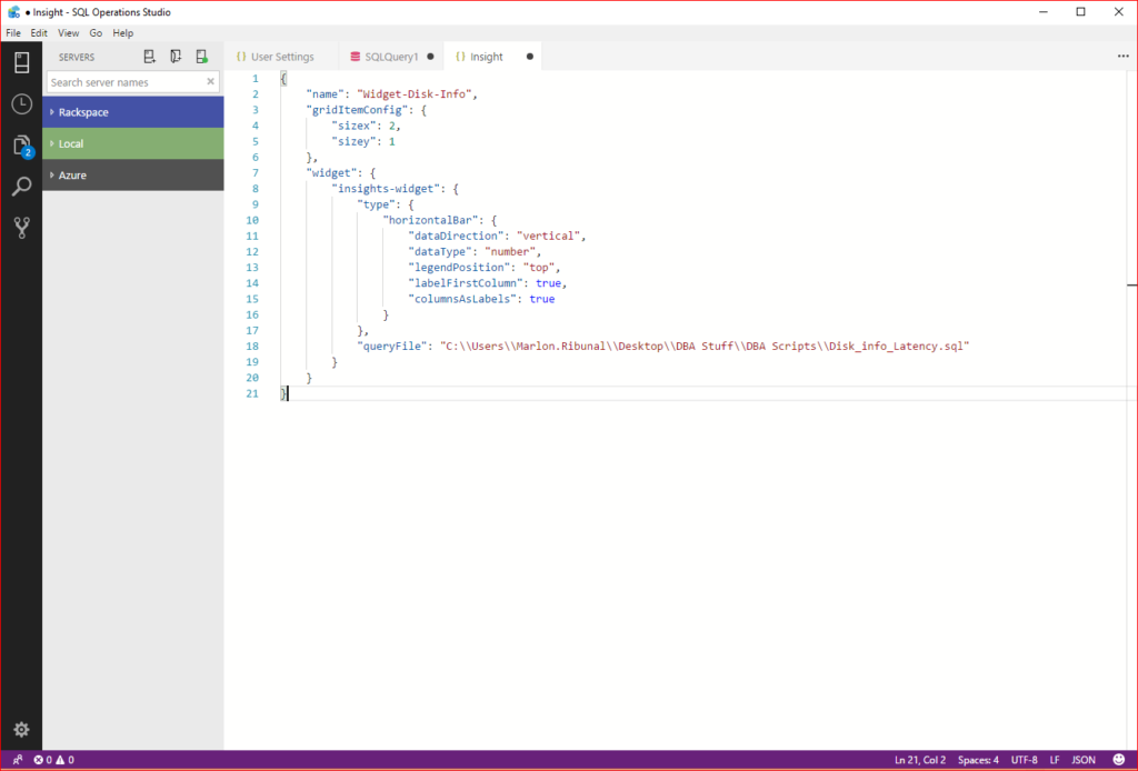 SQL Operations Studio Chart JSON